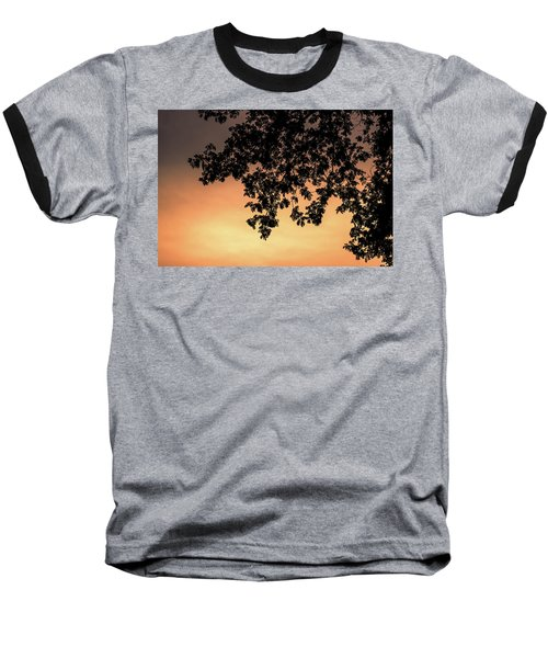 Silhouette Tree In The Dawn Sky Baseball T-Shirt