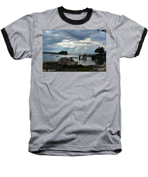 Silhouetted Views From Bustin's Island In Maine Baseball T-Shirt by DejaVu Designs