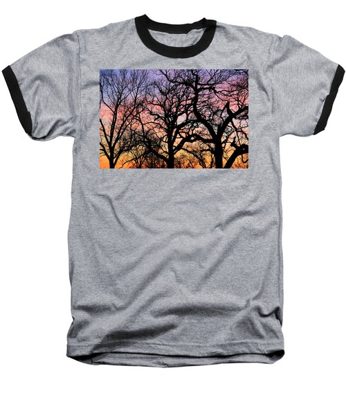 Baseball T-Shirt featuring the photograph Silhouettes At Sunset by Chris Berry