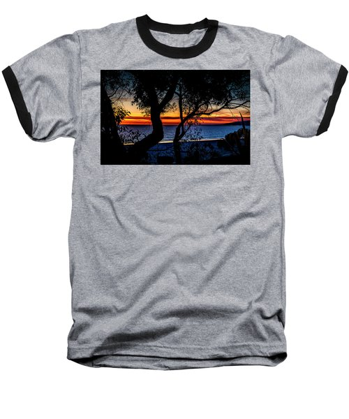 Silhouettes Over Blue Water Baseball T-Shirt