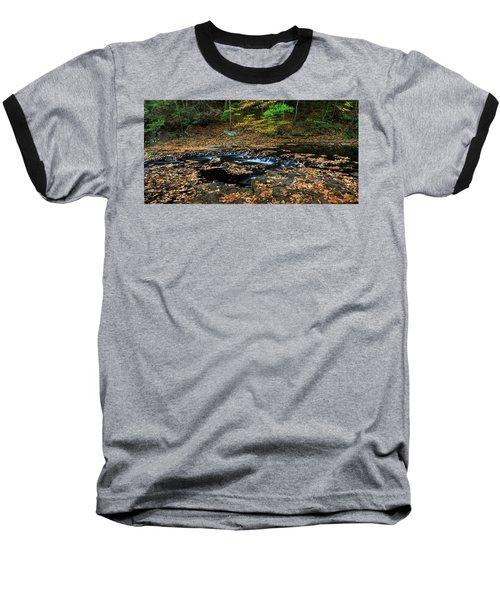 Silky New England Stream In Autum Baseball T-Shirt