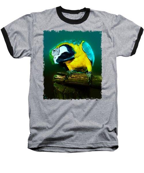 Silly Maya The Macaw Parrot Baseball T-Shirt by Linda Koelbel