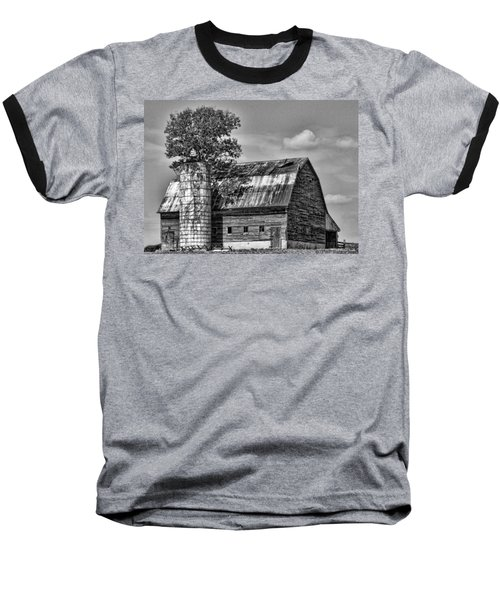 Silo Tree Black And White Baseball T-Shirt