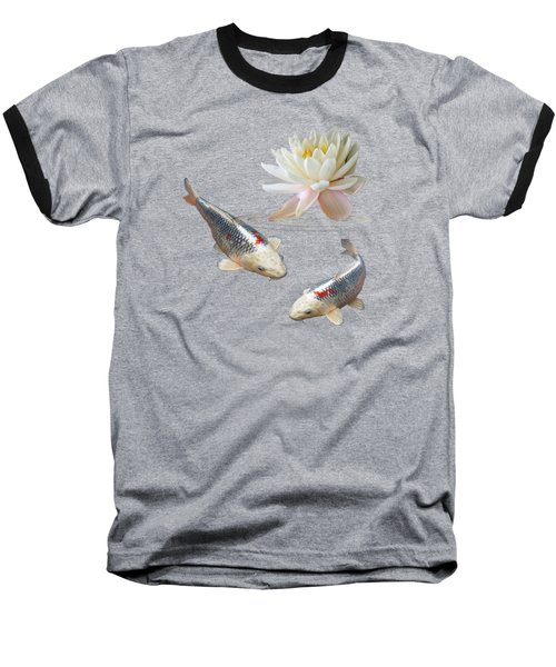 Silver And Red Koi With Water Lily Baseball T-Shirt by Gill Billington