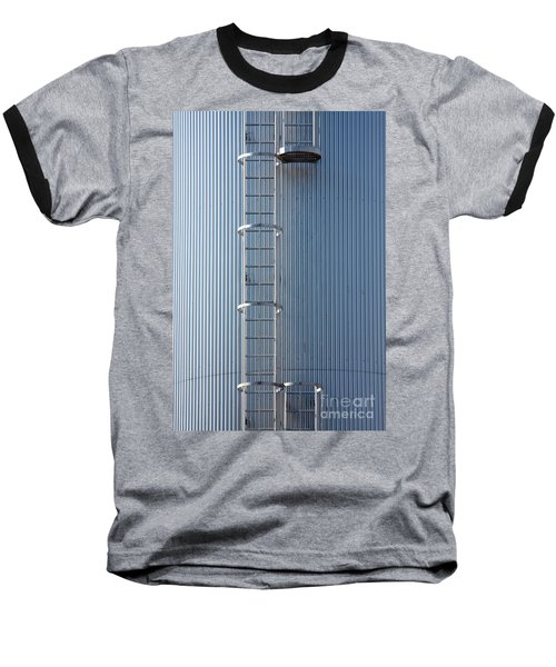 Silver Blue Silo With Steel Ladder. Baseball T-Shirt