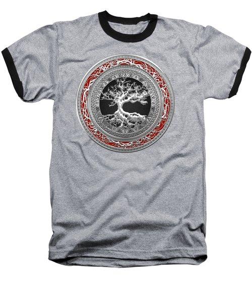 Silver Celtic Tree Of Life Baseball T-Shirt