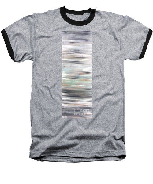 Silver Coast #25 Silver Teal Landscape Original Fine Art Acrylic On Canvas Baseball T-Shirt