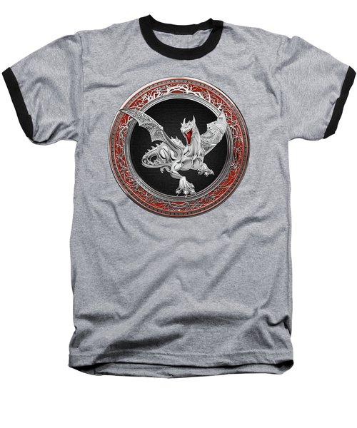 Silver Guardian Dragon Over Red Velvet  Baseball T-Shirt by Serge Averbukh