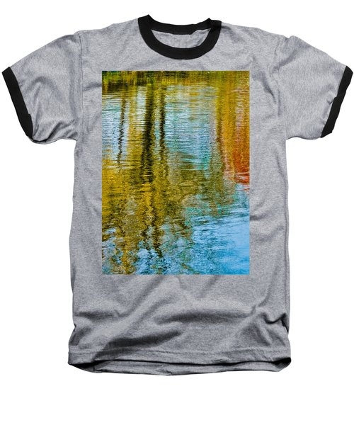 Silver Lake Autum Tree Reflections Baseball T-Shirt by Michael Bessler