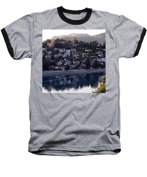 Silver Lake Reservoir And Hollywood Hills Baseball T-Shirt