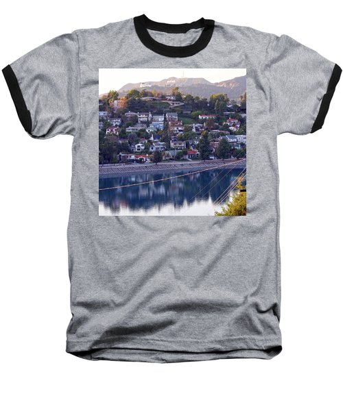 Silver Lake Reservoir With Griffith Observatory And Hollywood Sign Baseball T-Shirt