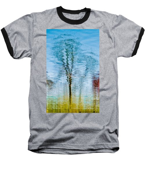 Silver Lake Tree Reflection Baseball T-Shirt