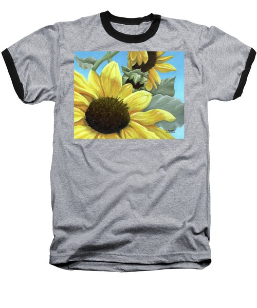 Silver Leaf Sunflower Growing To The Sun Baseball T-Shirt