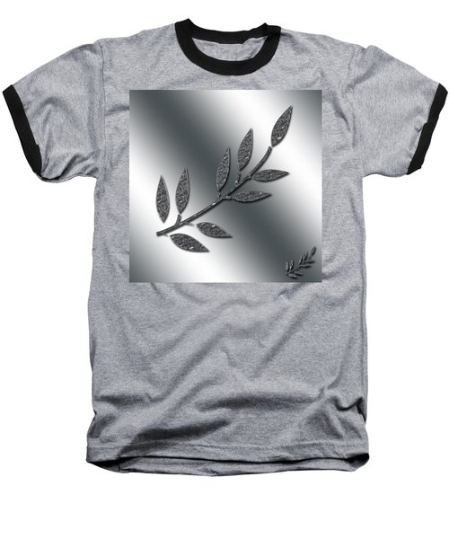 Silver Leaves Abstract Baseball T-Shirt