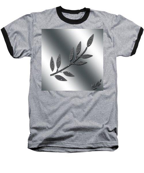 Silver Leaves Abstract Baseball T-Shirt