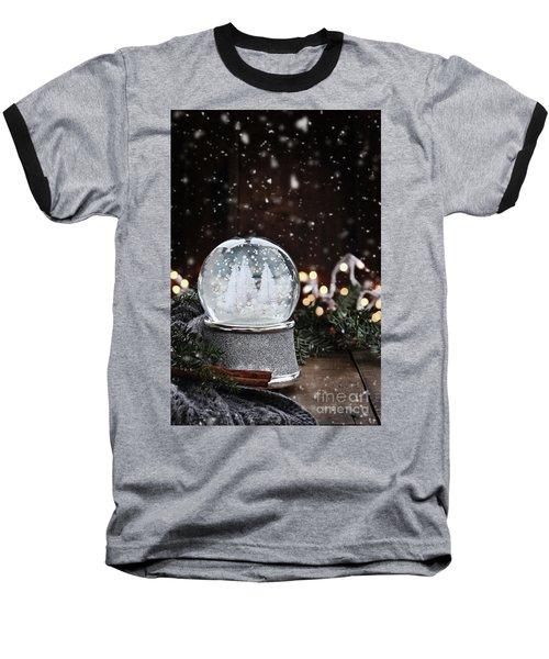 Silver Snow Globe Baseball T-Shirt by Stephanie Frey