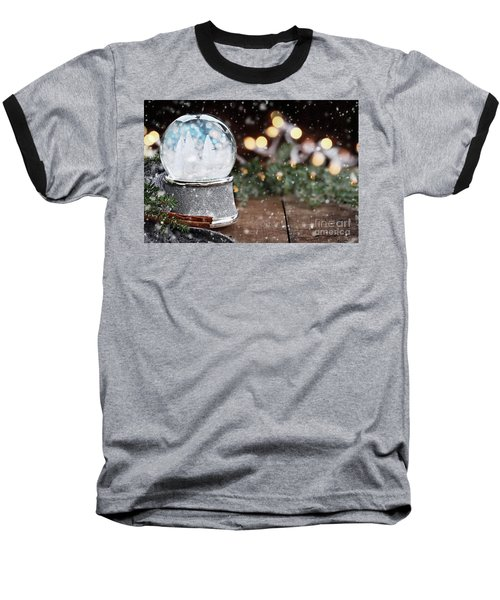 Silver Snow Globe With White Christmas Trees Baseball T-Shirt