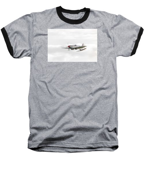 Silver Spitfire In A Cloudy Sky Baseball T-Shirt by Gary Eason
