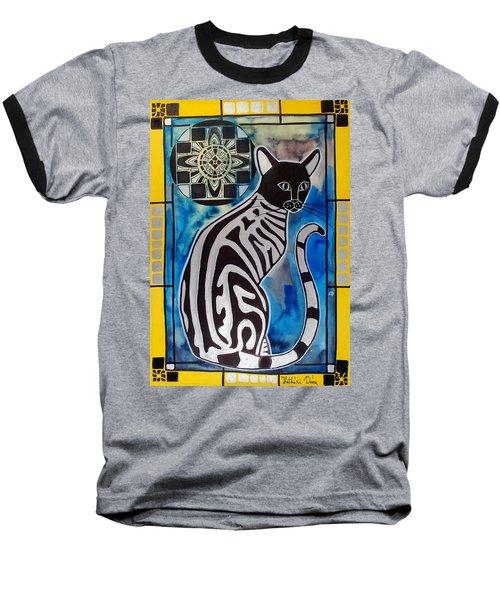 Silver Tabby With Mandala - Cat Art By Dora Hathazi Mendes Baseball T-Shirt
