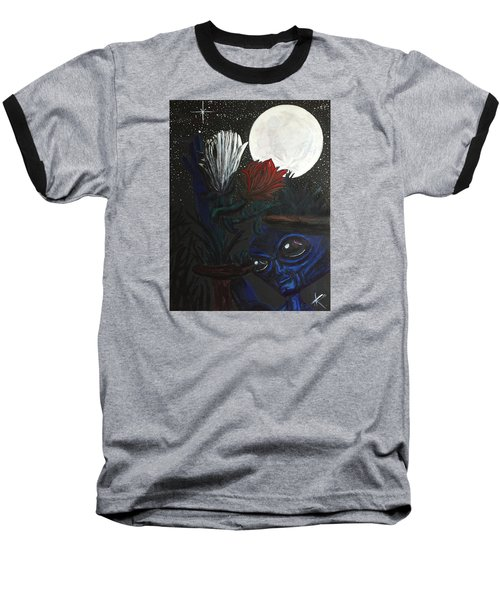 Similar Alien Appreciates Flowers By The Light Of The Full Moon. Baseball T-Shirt by Similar Alien
