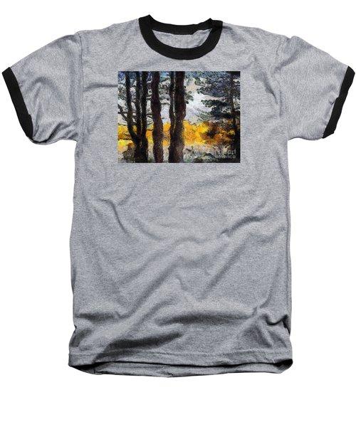 Simulated Van Gogh Scene Baseball T-Shirt by Craig Walters