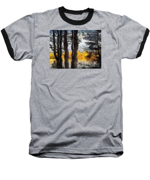 Simulated Van Gogh Scene Baseball T-Shirt
