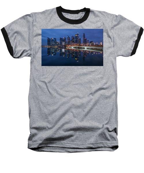 Singapore Skyline Reflection Baseball T-Shirt