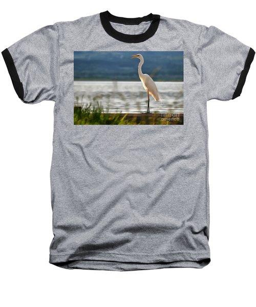 Singing White Egret Baseball T-Shirt
