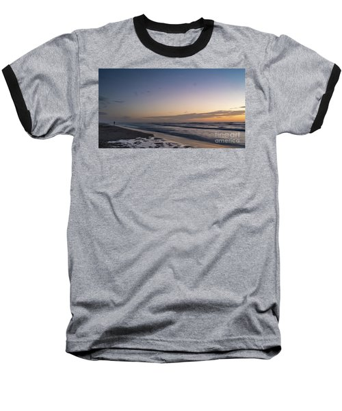 Single Man Walking On Beach With Sunset In The Background Baseball T-Shirt