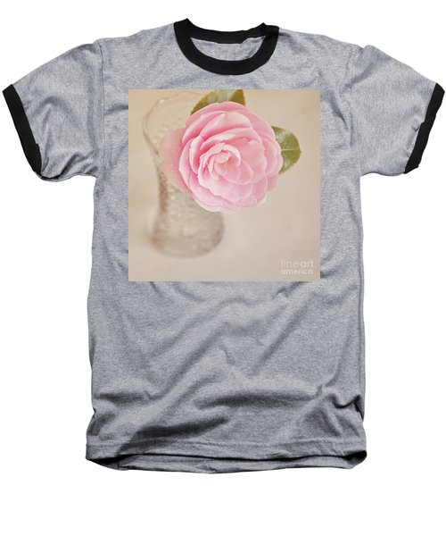 Baseball T-Shirt featuring the photograph Single Pink Camelia Flower In Clear Vase by Lyn Randle