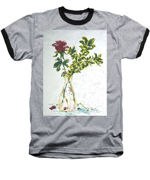 Single Red Rose Baseball T-Shirt