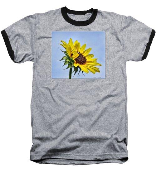 Single Sunflower Baseball T-Shirt by Mikki Cucuzzo