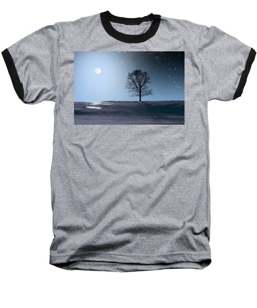 Baseball T-Shirt featuring the photograph Single Tree In Moonlight by Larry Landolfi