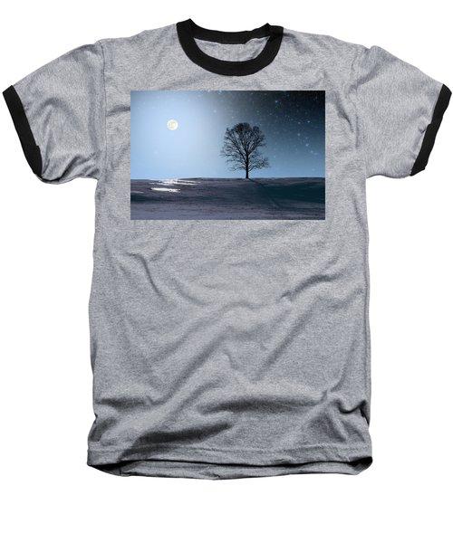 Single Tree In Moonlight Baseball T-Shirt