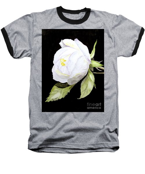 Single White  Bloom  Baseball T-Shirt by Carol Grimes