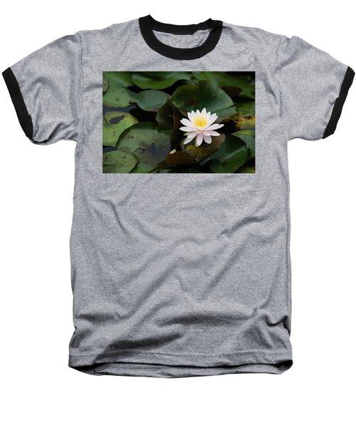 Single White Pristine Lotus Lily Baseball T-Shirt