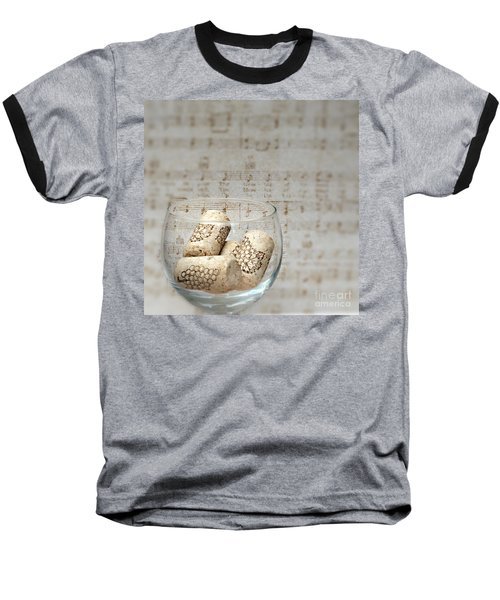 Sipping Wine While Listening To Music Baseball T-Shirt by Sherry Hallemeier