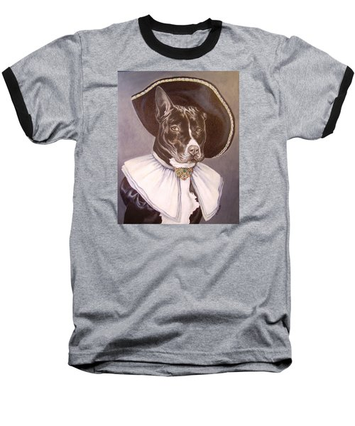 Baseball T-Shirt featuring the painting Sir Pibbles by Laura Aceto