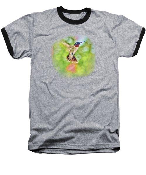 Sir Ruby Throat - Hummingbird Baseball T-Shirt by Barry Jones