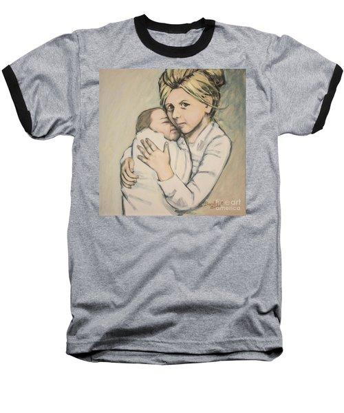 Baseball T-Shirt featuring the painting Sisters by Olimpia - Hinamatsuri Barbu