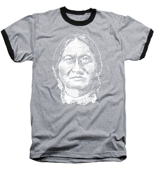 Sitting Bull Graphic - Black And White Baseball T-Shirt