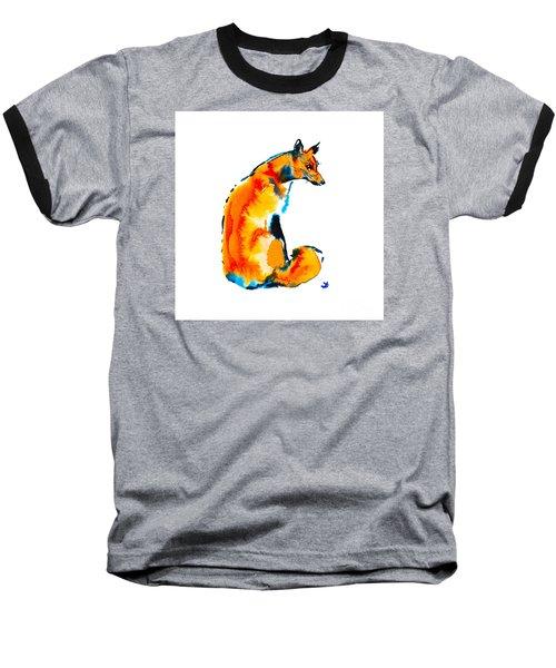 Baseball T-Shirt featuring the painting Sitting Fox by Zaira Dzhaubaeva