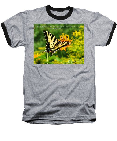 Baseball T-Shirt featuring the photograph Sitting Pretty Giving by Diane E Berry