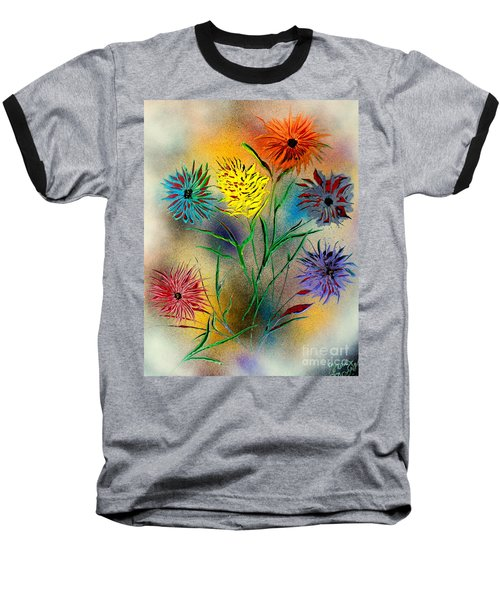 Baseball T-Shirt featuring the painting Six Flowers - E by Greg Moores