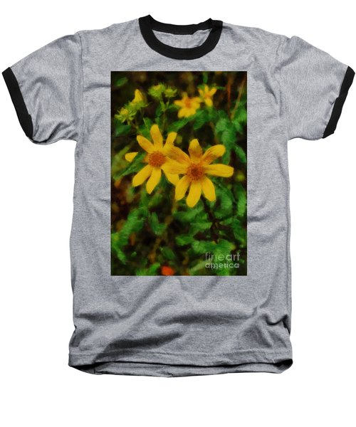 Baseball T-Shirt featuring the photograph Sixteen Petals  Two Yellow Wildflowers by Michael Flood