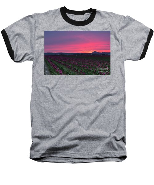 Baseball T-Shirt featuring the photograph Skagit Valley Burning Skies by Mike Reid
