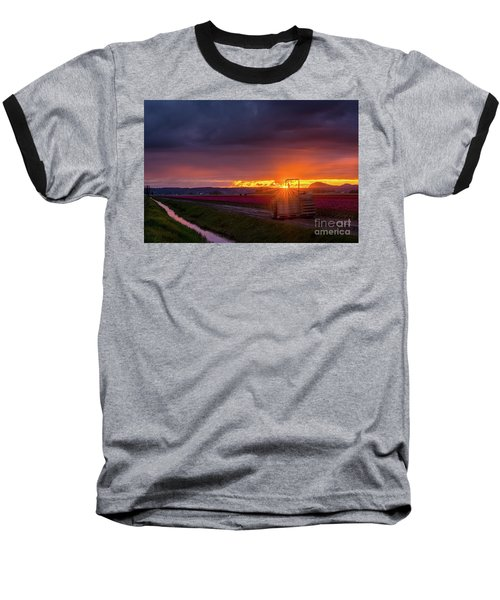 Baseball T-Shirt featuring the photograph Skagit Valley Tractor Sunstar by Mike Reid