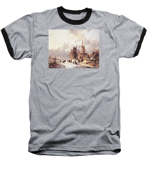Skaters On A Frozen River Baseball T-Shirt by Reynold Jay