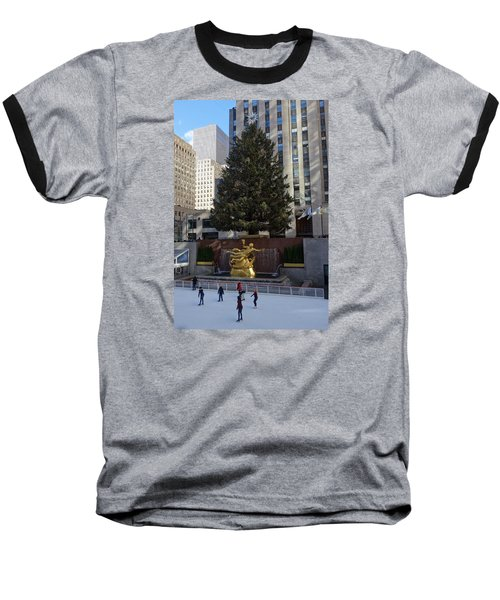 Baseball T-Shirt featuring the photograph Skating At Rockefeller Center by Melinda Saminski