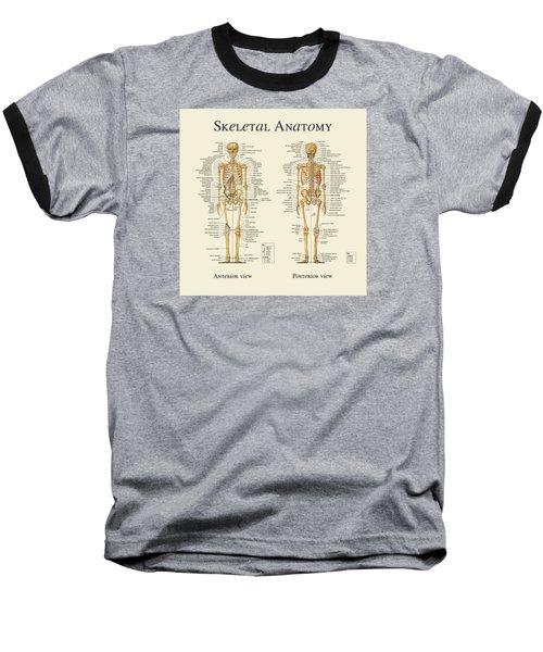 Skeletal Anatomy Baseball T-Shirt by Gina Dsgn
